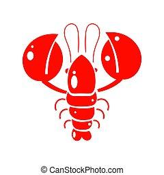 fabric., paper., לעטוף, דוגמה, להדפיס, עצב, crayfish., דפוסית, אדום