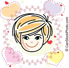 features., חמוד, לחייך פנים, אופי, ילדות, צפה, וקטור, בן אנוש, head., ילדה, בלונדינית