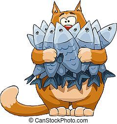 fish, חתול