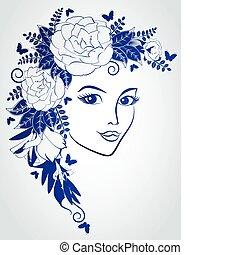 flowers., אישה, צפה