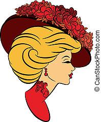 flowers., ילדה, כובע, עצב