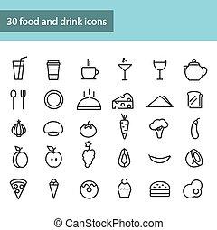 fruits., דוגמה, וקטור, שתה, vegetables., איקונים של אוכל, קבע