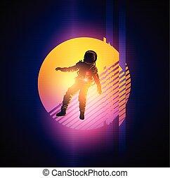 glitch, 1980's, איש חלל, רקע