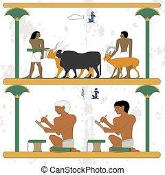 goat., עתיק, work., הובל, אנשים, מצרים, כתוב, רקע., היסטורי, פרות, טפסרים, papyrus., איש