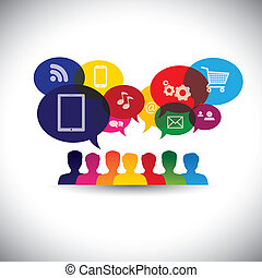 graphic., תקשורת, שחח, רשת, קשירת קשרים, צרכנים, איקונים, תקשורת, -, תקשורת, גם, קניות אונליין, קניות, משתמשים, אינטרנט, גרפי, מציג, פעולת גומלין, זה, &, וקטור, סוציאלי, או