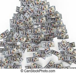 ground., דולר, דוגמה, 100, חשבונות, לפול, 3d