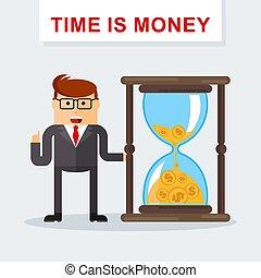 hourglass., לנהל, כסף., management., זמן, איש עסקים, אמצעים