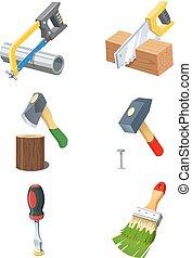 icon., וקטור, קבע, tools.