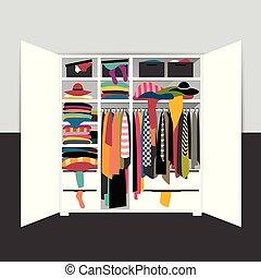 illustration., וקטור, בגדים, פתוח, ציור היתולי, לא מסודר, להשתפך, מלתחה, ארון, mess.