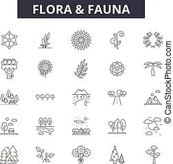 illustration:, טבע, פאונה, צמחייה, קבע, תאר, מושג, פאונה, vector., בעל חיים, עצב, קו, צמחייה, סימנים, איקונים