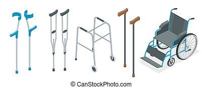 illustration., כיסא גלגלים, concept., הלכן, וקטור, דאג, ניידות, קביים, crutches., בריאות, קבע, קנה, איזומטרי, לכלול, קנה זרוע, איידס, ק.א.ד.