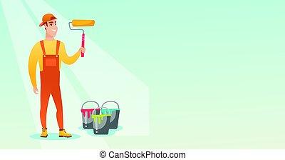 illustration., צבע, וקטור, צייר, להחזיק, מוט גלילי