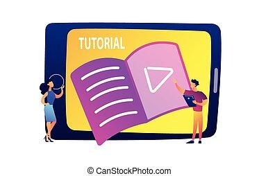 illustration., קדור, להסתכל, סטודנטים, וקטור, שיעור