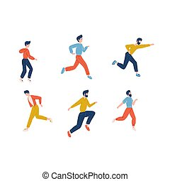 illustration., רץ, דירה, גברים, לרוץ, clothes., אופי, ספורט, צעיר, קבע, רגוע, וקטור, jogging., לך, זכר, רוץ