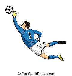 illustration., שוער, וקטור, רקע., הכנסה לכל מניה, לבן, 10, כדור, תופס, כדורגל, מושג