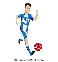 jumping., סיגנון, שחקן, כדורגל, להראות, אופי, actions., וקטור, לבעוט, כדורגל, לרוץ, שמח, פשוט, illustration., כדור