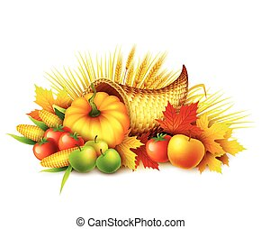 leaves., וקטור, celebration., design., מלא, אסף, שפע, סתו, דוגמה, נפול, פירות, דלעת, הודיה, vegetables., דש