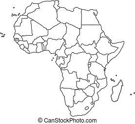 map., וקטור, שחור, אפריקה, דוגמה, תאר