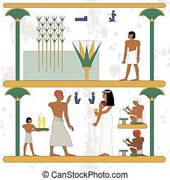 marsh., אנשים, דרך, ללכת, מצרים, feast., רקע., עתיק, איש, היסטורי, עשיר