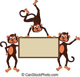 monkey's, טופס, עלה, ציור היתולי