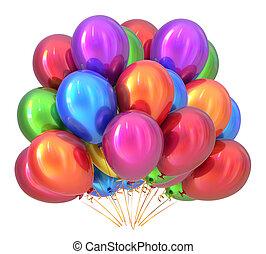 multicolored., קישוט, מפלגה של יום ההולדת, בלונים, balloon, צרור