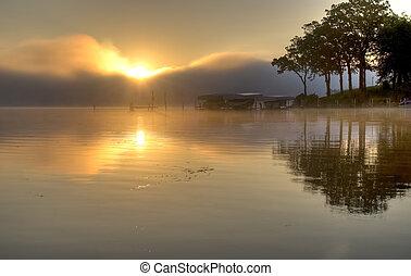 okoboji, מעל, אגם, עלית שמש