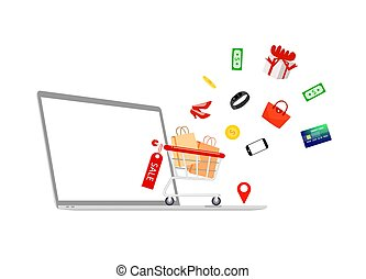 online., עגלה, מחברת, קניות