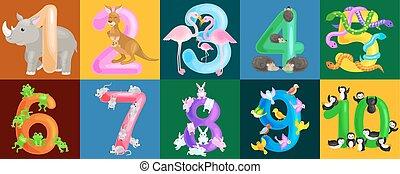 ordinal, יכולת, קבע, בעלי חיים, אי.בי.סי, אלפבית, דוגמה, בית ספר, אוסף, או, גן ילדים, כמות, ספרים, וקטור, מספרים, פוסטרים, יסודי, ללמד, לספור, ילדים, חשב