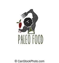 paleo, אוכל, איש מערות, וקטור, עצב, דפוסית