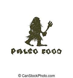 paleo, גראנג, אוכל, איש מערות, וקטור, עצב, דפוסית