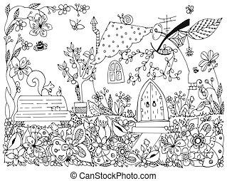 parks., zentangl, גן, התנדנד, קפוץ, zenart, עץ, נגד, פיה, white., books., וקטור, הגדה, דוגמה, ספסל, מבוגר, תפוח עץ, שחור, adults., לצבוע, תפוחי עץ, dudling., פרחים, יצור, house., מדגיש, טבע, שרבט