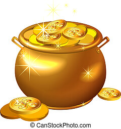 patrick`s, זהב, סיר, מטבעות, רחוב., וקטור, יום