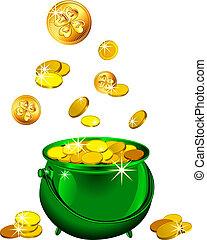 patrick`s, זהב, רחוב., מטבעות, יום, וקטור, ירוק, סיר