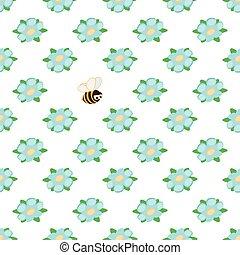 pattern., כחול, שכח אותי לא, ילדים, פרח של תפוז, דבורה, וקטור, רקע, קיץ, לבן, מצחיק, seamless