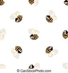 pattern., seamless, לבן, ציור היתולי, מצחיק, כועס, דבורות, רקע צהוב, וקטור, ילדים, תפוז