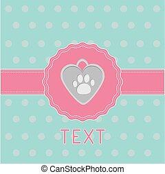 pendant., סרט, dog?s, ורוד, כנה, card.