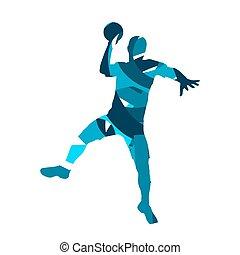 player., צללית, כדור יד, וקטור, תקציר, כחול