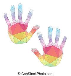 poligonal, צבעוני, אומנות, מדפיס, העבר, וקטור