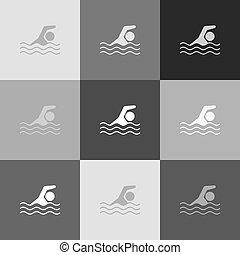 popart-style, חתום., grayscale, השקה, גירסה, vector., icon., ספורט, לשחות