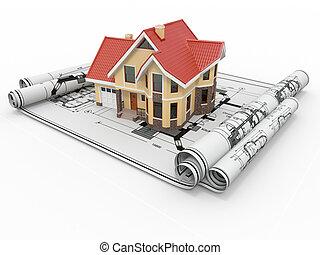 project., דיורי, דיור, אדריכל, דיר, blueprints.