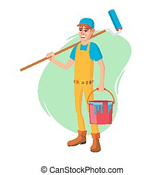 renovation., מושג, קלאסי, דיר, אופי, דוגמה, צבע, vector., paintbrush., זכר, ציור היתולי, צייר
