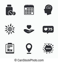 rx., icons., קדורים, מוח, בקבוק של תרופה