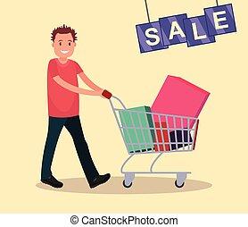 sale., קניות, cart., איש