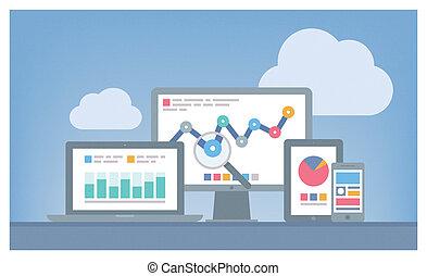 seo, רשת, מושג, analytics