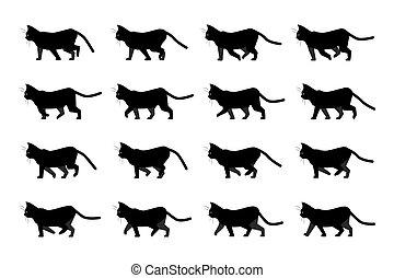sequence., שדון, צהוב, eyes., pet., לך, סמן, גור, תמוך, אנימציה, חתול, שחור, חתלתול, לזוז, וקטור, silhouette., הבט, אופי, ביתי, ללכת, animation., בעל חיים, ציור היתולי