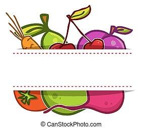 set., וקטור, ירקות, פירות