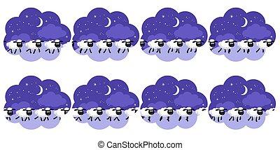 sheep, לספור, דף, שדון, חלם, רקע של אנימציה, לילה, לרהוט, בעבע