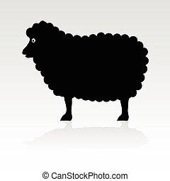 sheep, שחור, וקטור, צללית