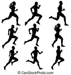 silhouettes., לרוץ, וקטור, קבע, illustration.