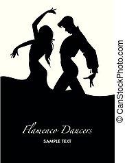 silhouettes., קשר, רקדנים, דוגמה, וקטור, פלאמאנכו
